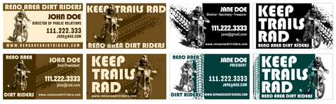 Reno Are Dirt Riders business cards