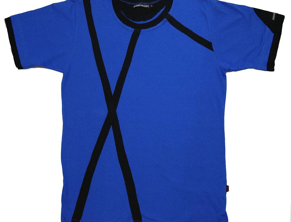 Playera Hombre (azul-tiras)