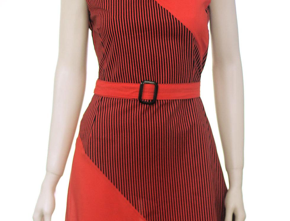 Vestido Raíz (rayas rojo)