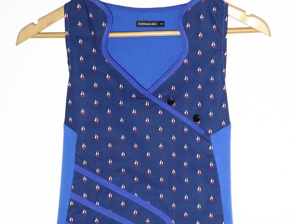 Blusa 2 Mentes (azul barquitos)