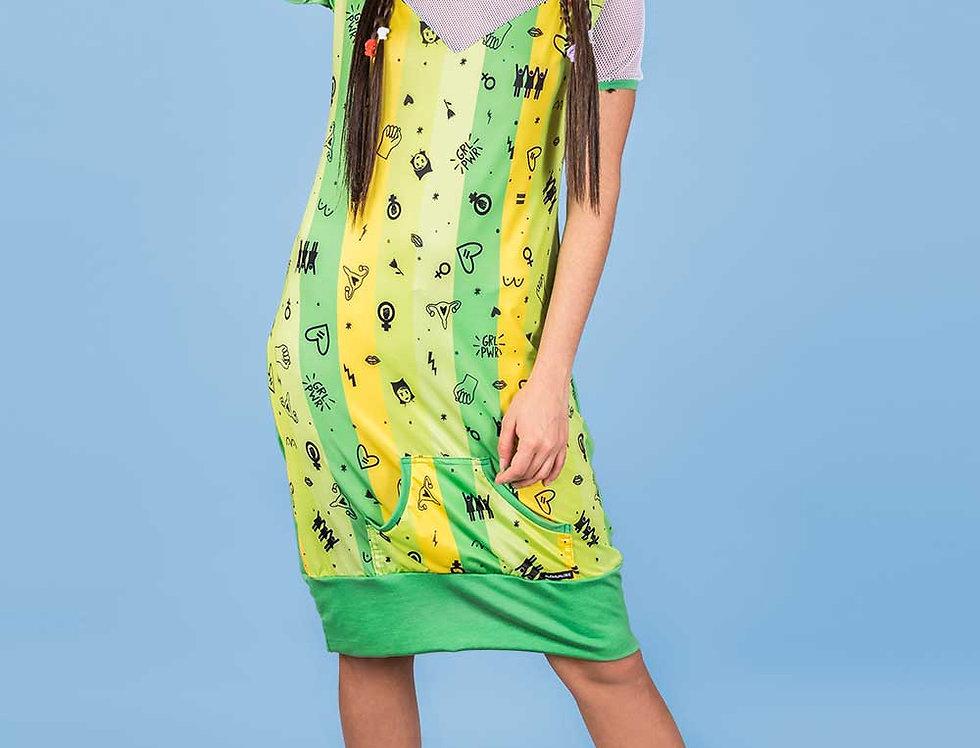 Vestido Productora (verde feminista)