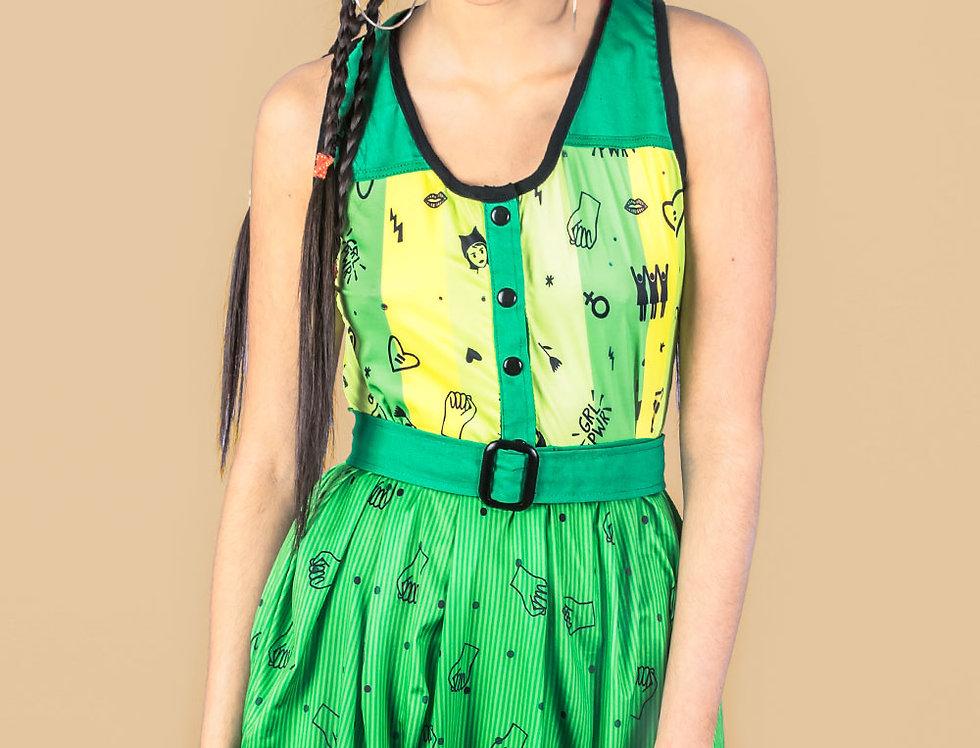 Vestido Las Palabras verano (est. verde feminista)