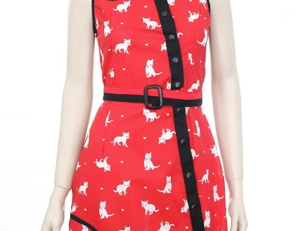 Vestido Luis (rojo gatitos)