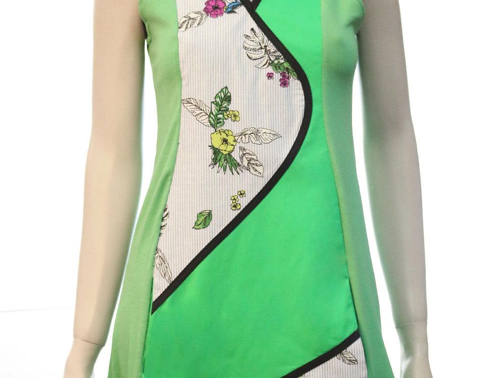 Vestido Viajera Errante (verde rayas flores)