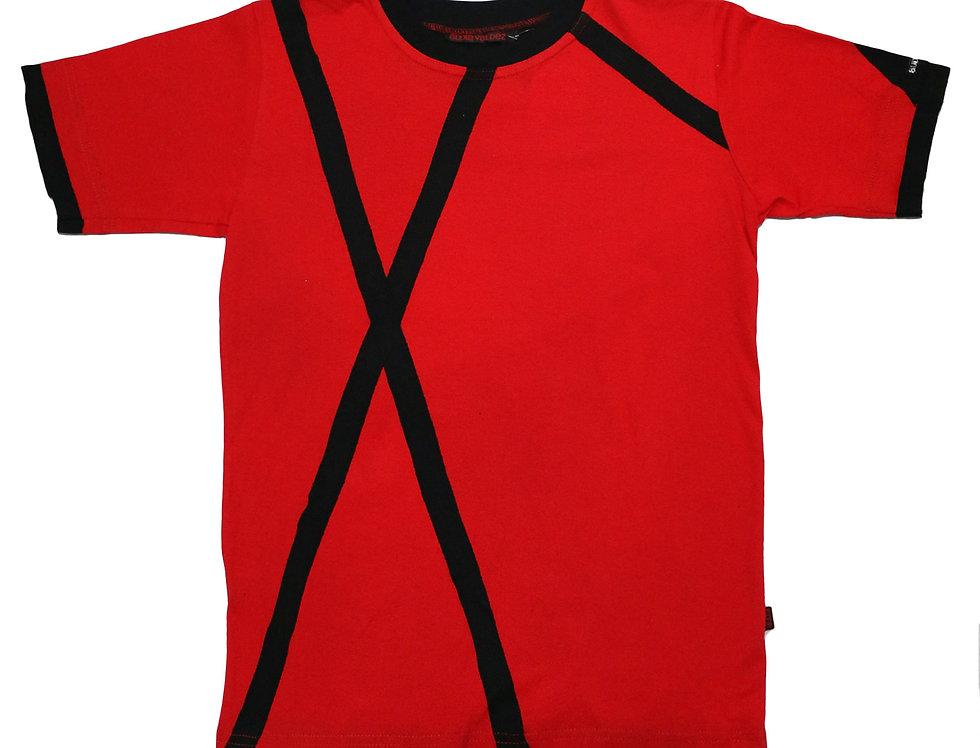 Playera Hombre (roja-rayas)