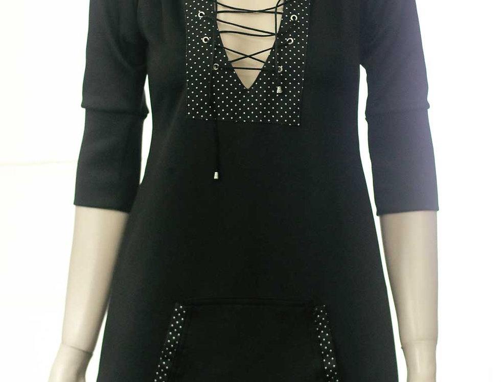 Vestido Mavleví (negro lunares)
