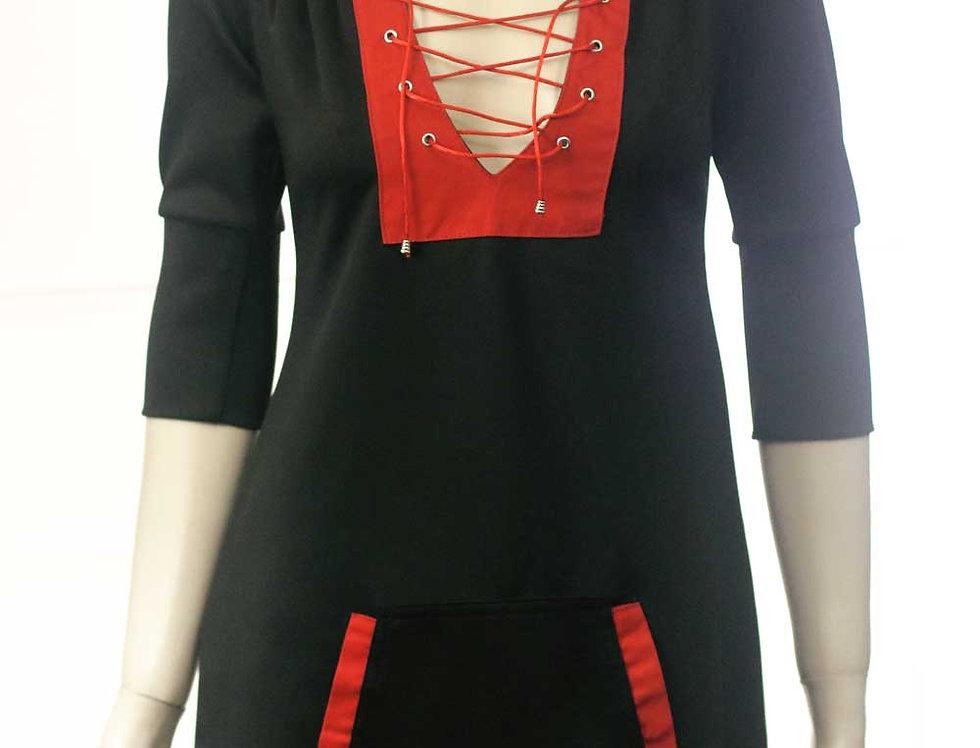 Vestido Mavleví (negro c/rojo)