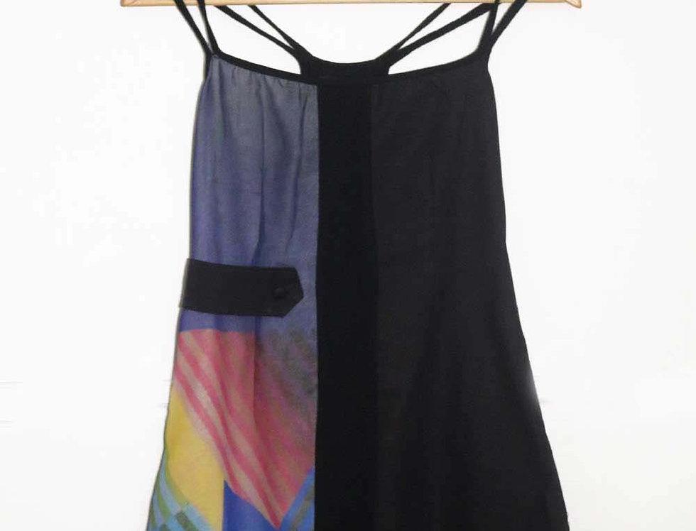 Vestido Romycal (negro y est. azul)