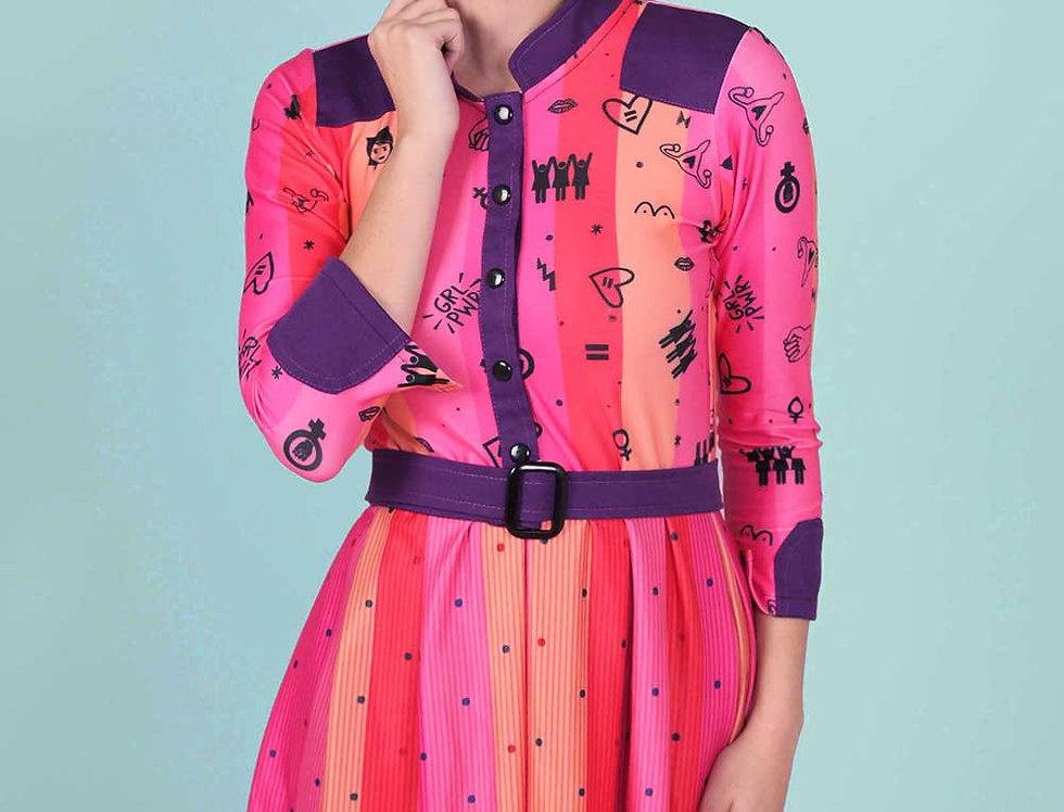 Vestido Las Palabras (est. feminismo rosa)