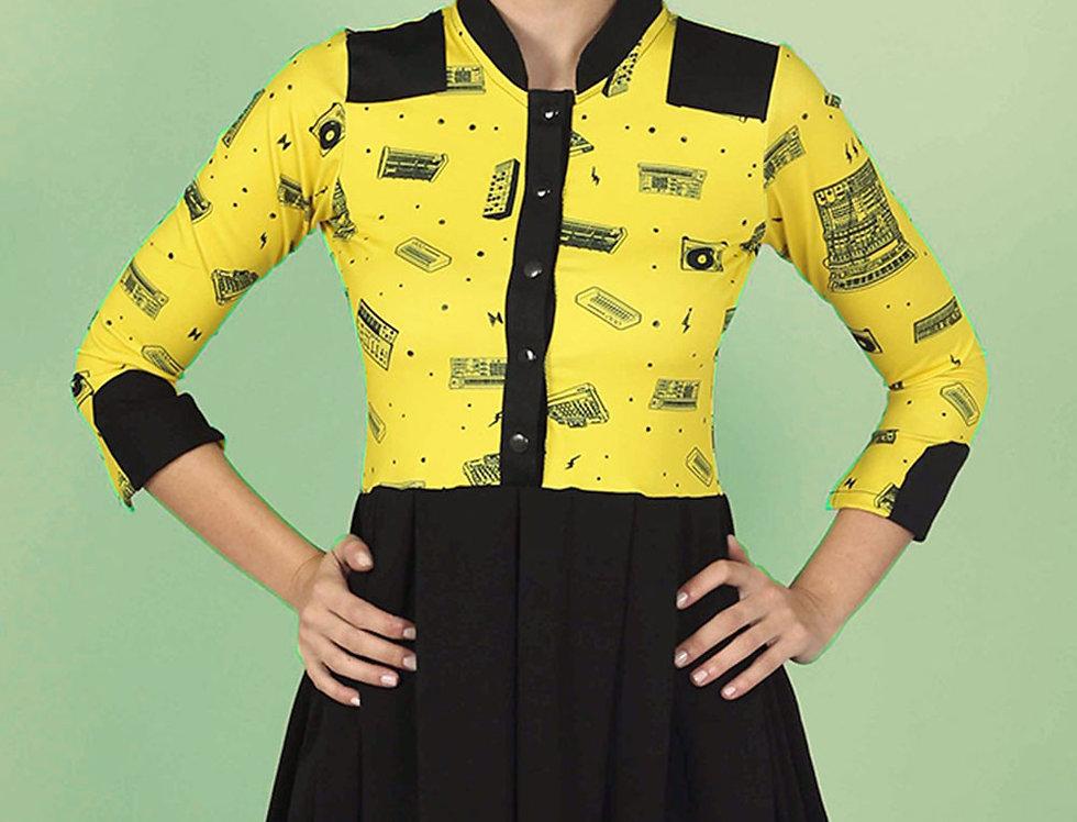 Vestido Las Palabras (sintes amarillo y negro)
