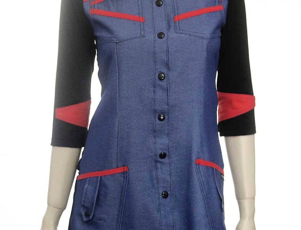 Vestido Maquinal (jean azul elastizado)