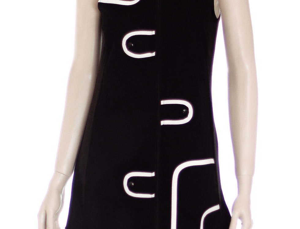 Vestido Audry Mini (Negro c/blanco)