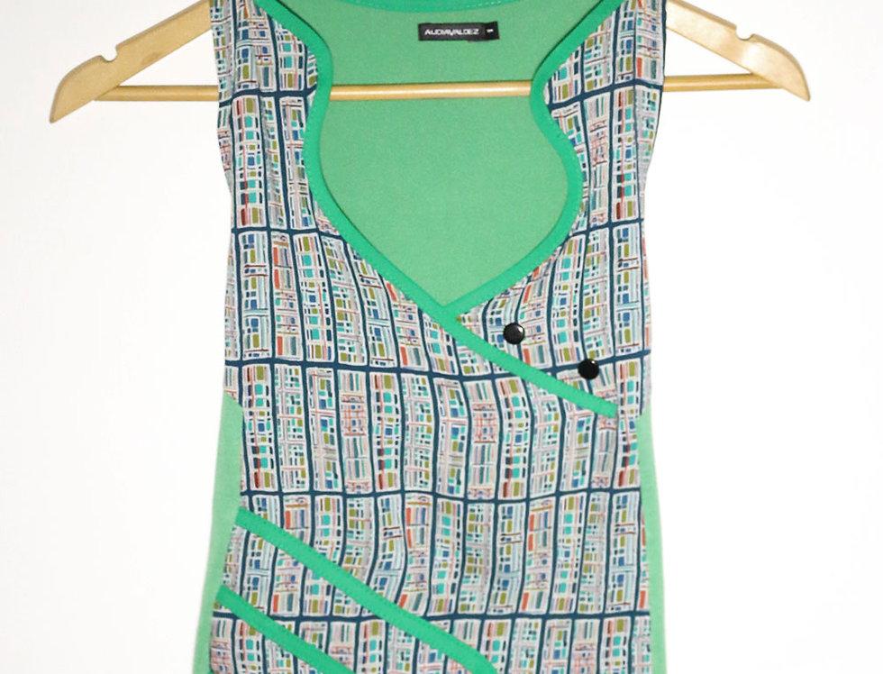 Blusa 2 Mentes (fibrana verde cuadritos)