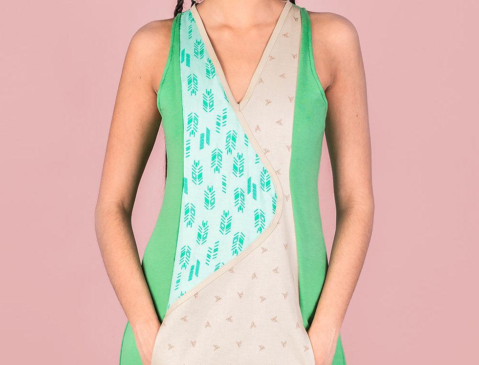 Vestido Viajera Errante (verdes+beige)