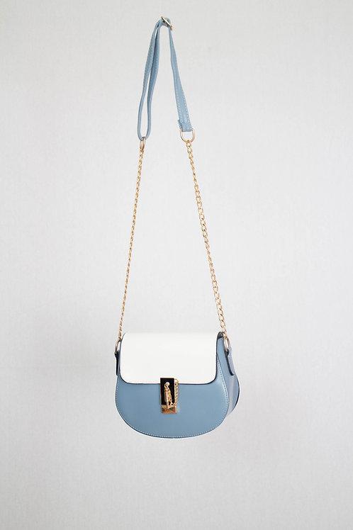 Blue and White Messenger Bag