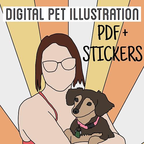 Digital PET Illustration PDF + STICKERS