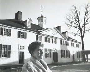 Accokeek Foundation founder, Frances Payne Bolton in front of Mt Vernon