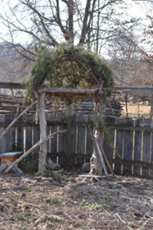 According to Matt, this early Native American platform used by the hunter-gatherer communities of the Potomac will support runner beans and be surrounded by Jerusalem artichokes and groundnuts.