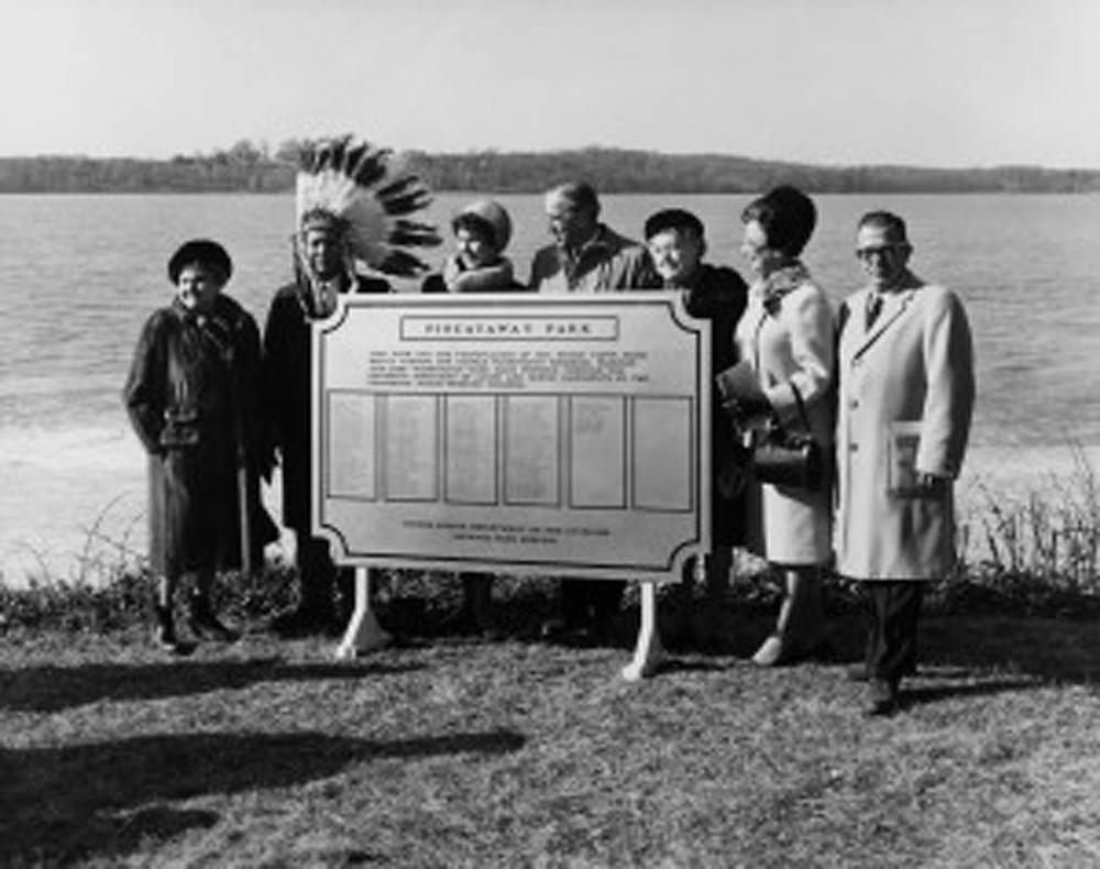 The 1968 dedication of Piscataway Park. From left to right, Frances Bolton, Turkey Tayac, Belva Jensen, Robert Ware Straus, Rosamond Bierne, Gladys Spellman, and Hervey Machen.