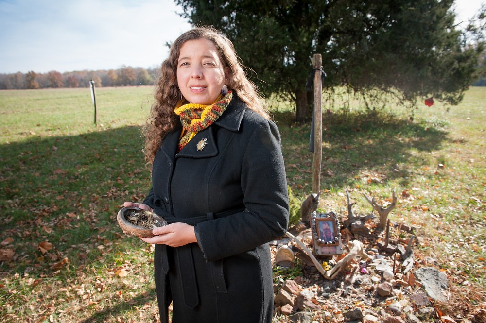 Gabrielle Tayac visits ancestral burial site in Piscataway Park. Photo by Edwin Remsberg.