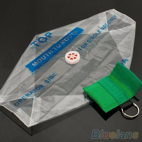 Green Key Ring CPR Face Shield Mask