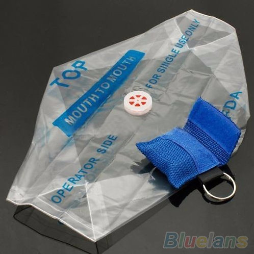 BF Blue Key Ring CPR Face Shield Mask