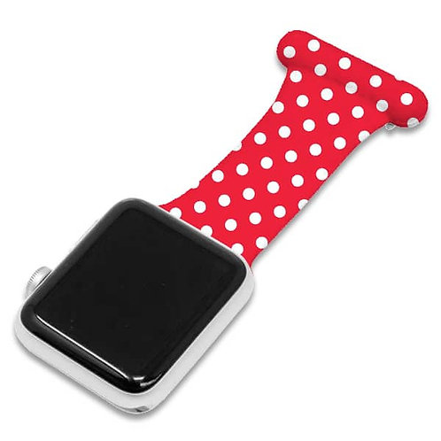 Red Polka Dot Pattern Apple Watch Nurse Fob