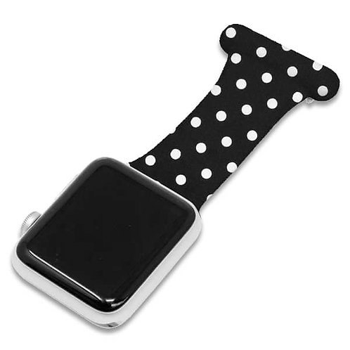 Black Polka Dot Pattern Apple Watch Nurse Fob