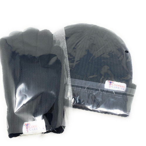 Black Winter Hat and Gloves by Coopers Care UK