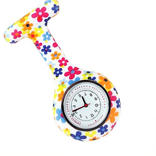 Colourful Flower Nurse Fob Watch