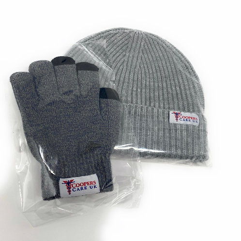 Grey Winter Hat and Gloves by Coopers Care UK
