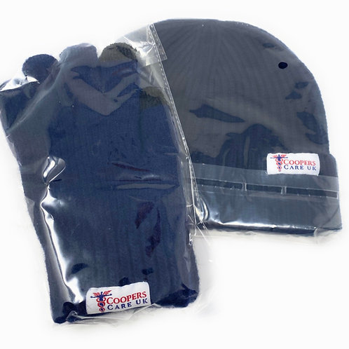 Navy Winter Hat and Gloves by Coopers Care UK