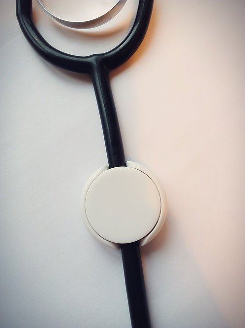 White stethoscope ID tag