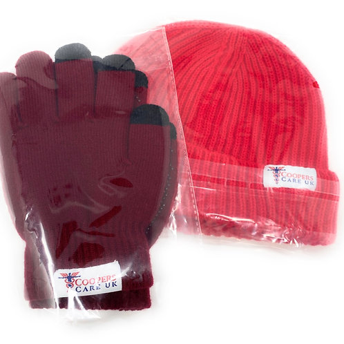 Red Winter Hat and Gloves by Coopers Care UK