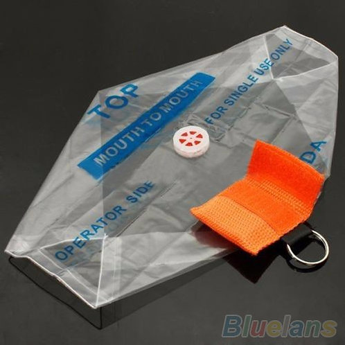 Orange Key Ring CPR Face Shield Mask