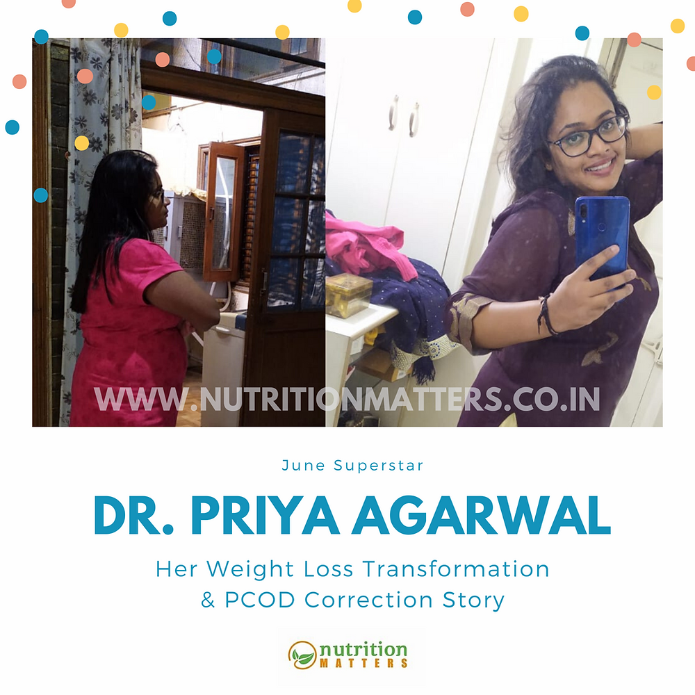 Dr Priya Agarwal fought PCOD and Lost Weight with Right Diet Plan in 60 days! Dietitian Ankita Gupta Client Review