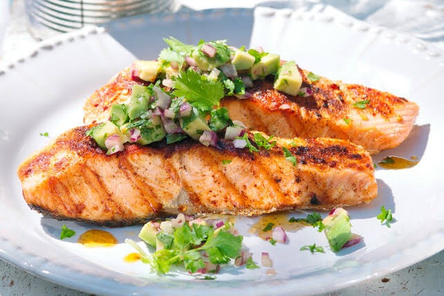 Grilled Salmon Fish with Avocado Salsa Recipe by Rashi Mahajan