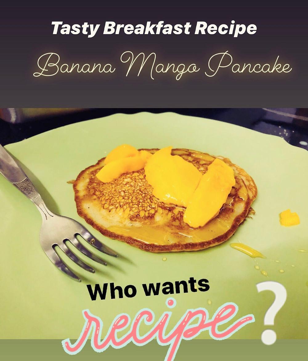 Easy Banana Mango pankcake Recipe for Breakfast