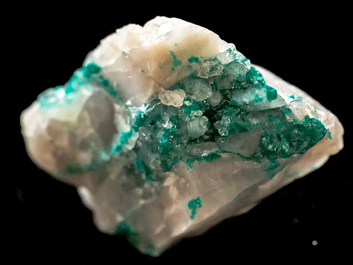 Dioptase Crystals in Calcite