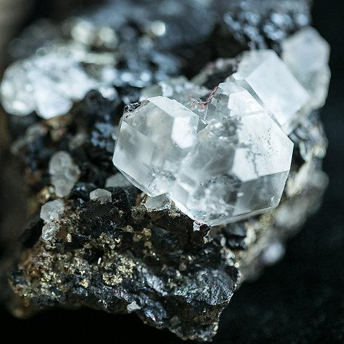 Fluorite Cuboctahedrons w/ Sphalerite & Chalcopyrite