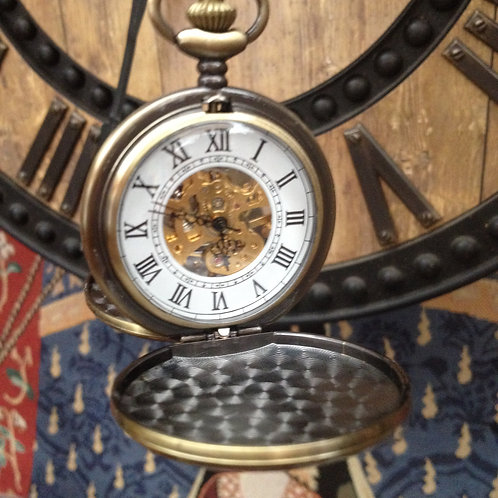 Brass double hunter wind up pocket watch