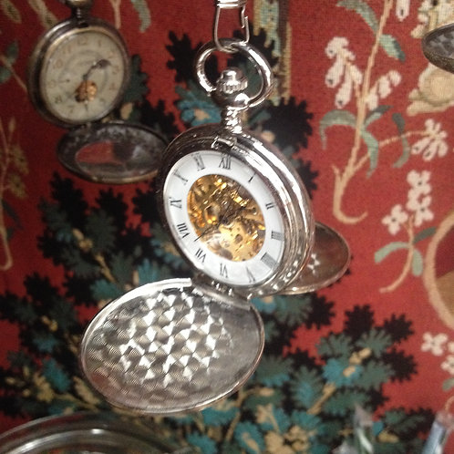 Silver wind-up double hunter pocket watch