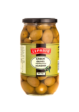 Lepanto Green Olives with Almonds 1kg