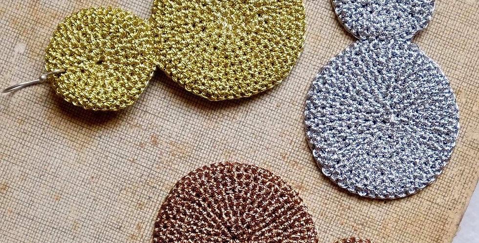 Handmade Skili Crochet Double Disc Earrings