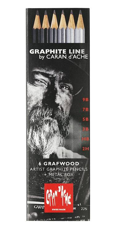 Grafwood, sett med seks grafittblyanter