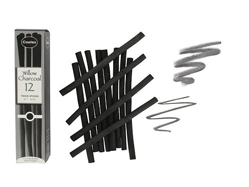 Willow Charcoal - Thick, 12 stk.