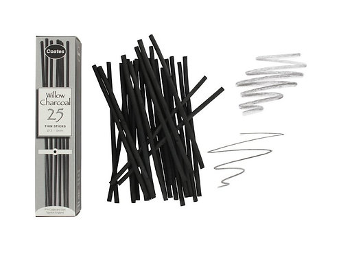Willow Charcoal - Thin, 25 stk.
