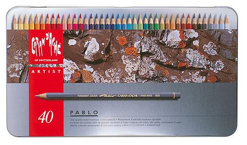 Pablo, metallskrin med 40 fargeblyanter