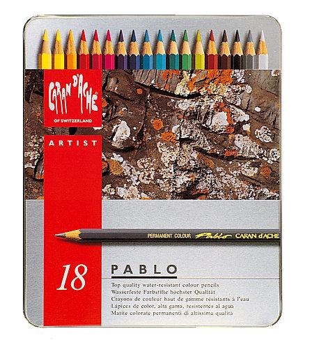 Pablo, metallskrin med 18 fargeblyanter