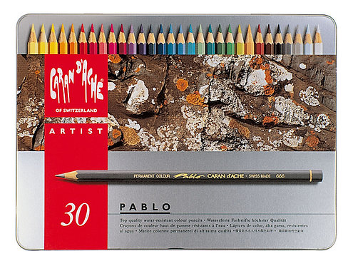 Pablo, metallskrin med 30 fargeblyanter
